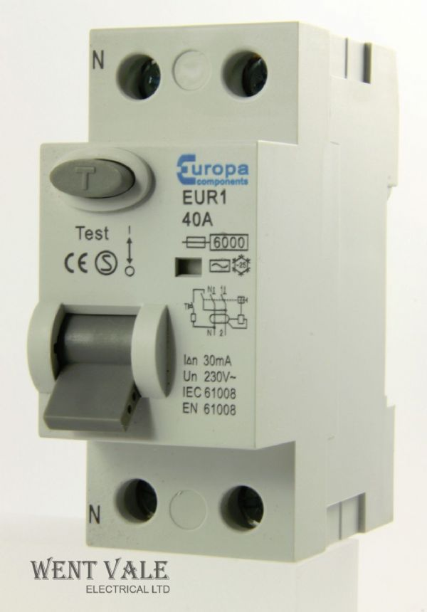 Europa Components - EUR140.30/2 - 40a 30mA Double Pole RCCB Un-used